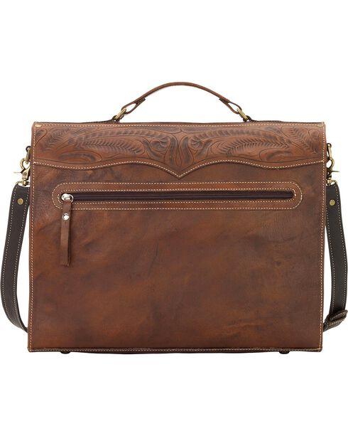 American West Chestnut Leather Stagecoach Laptop Briefcase, Chestnut, hi-res