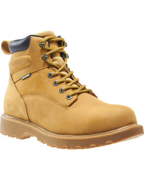 "Wolverine Men's Floorhand Waterproof 6"" Work Boots - Steel Toe, Wheat, hi-res"
