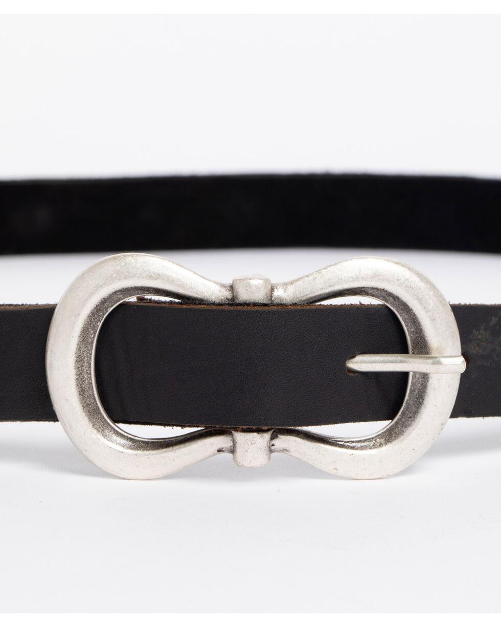 Leatherock Women's Black Amazonite Skinny Belt , Black, hi-res