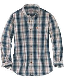 Carhartt Men's Blue Essential Plaid Button Down Long Sleeve Shirt , , hi-res