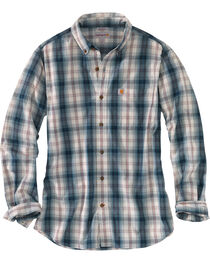 Carhartt Men's Blue Essential Plaid Button Down Long Sleeve Shirt - Tall, , hi-res