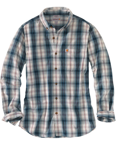 Carhartt Men's Blue Essential Plaid Button Down Long Sleeve Shirt - Tall, Blue, hi-res