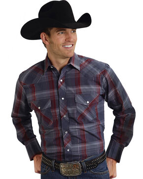 Roper Men's Gray Lurex Plaid Western Shirt, Grey, hi-res