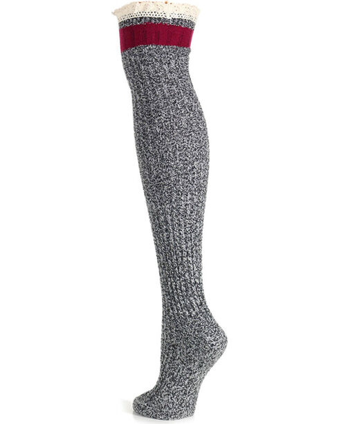 K-Bell Women's Soft & Dreamy Pretty Tomboy Over the Knee Socks, Black, hi-res