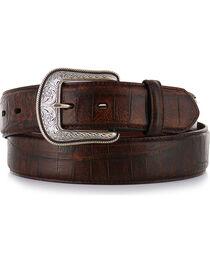 3D Men's Gator Embossed Leather Belt, Cognac, hi-res