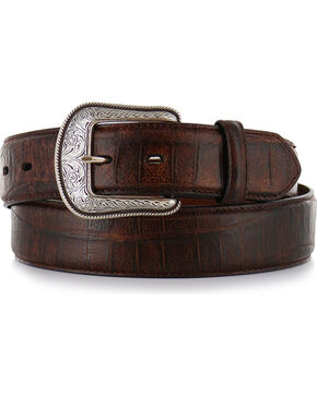 3D Men's Gator Embossed Leather Belt, Cognac, hi-res