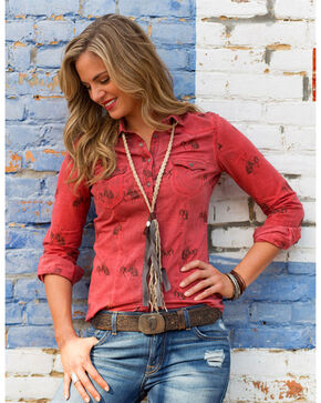 Ryan Michael Women's Bucking Horse Print Shirt , Rust Copper, hi-res