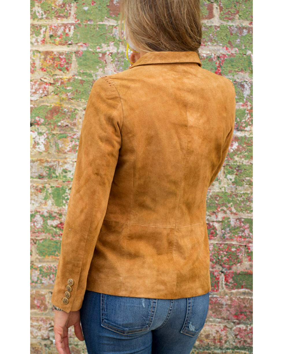 Ryan Michael Women's Brown Suede Leather Blazer , Brown, hi-res
