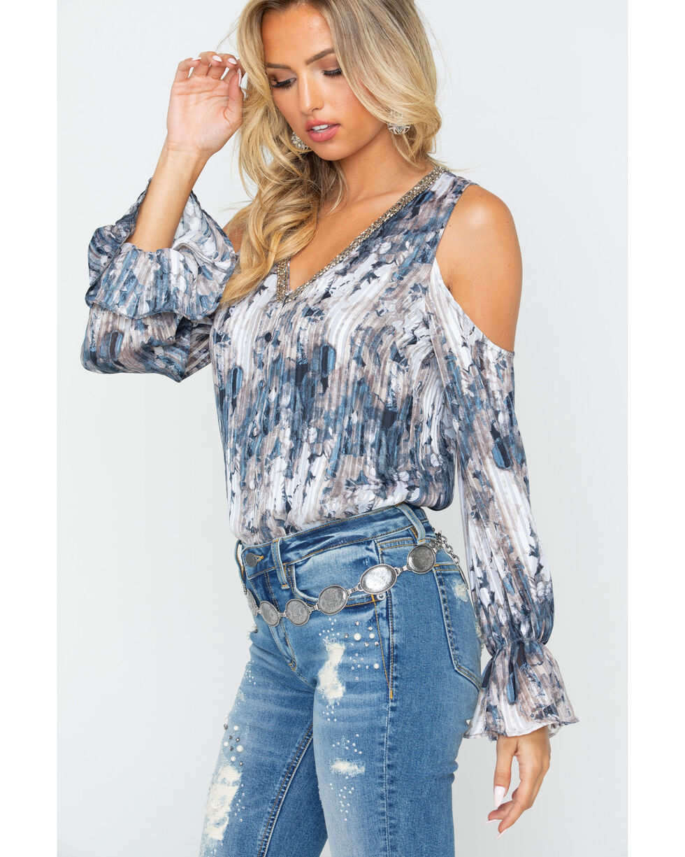 Miss Me Women's Pleated Cold Shoulder V-Neck Shirt, Grey, hi-res