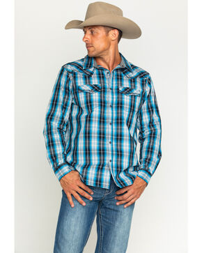 Cody James® Men's Border Plaid Long Sleeve Shirt, Black, hi-res
