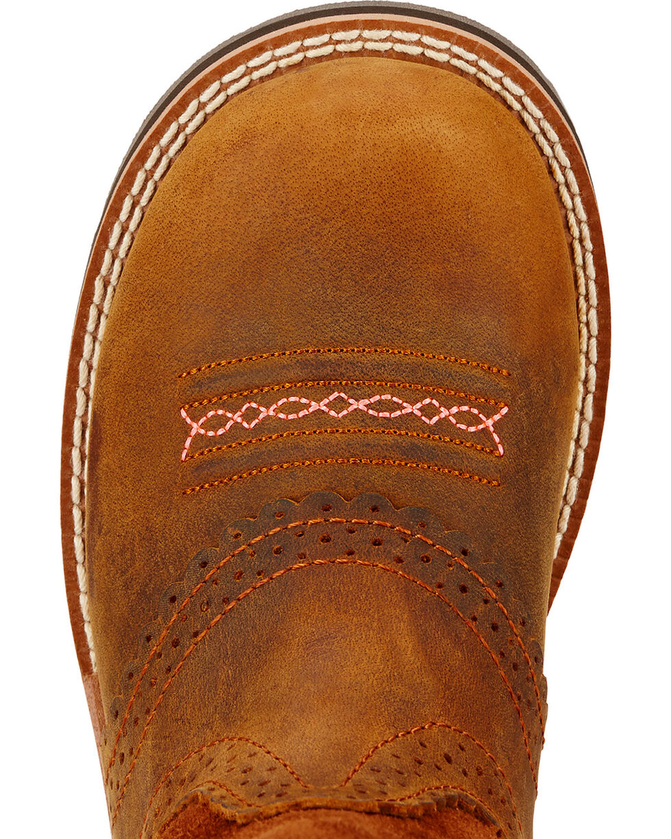 Ariat Youth Fatbaby Cowgirl Boots - Round Toe , Brown, hi-res