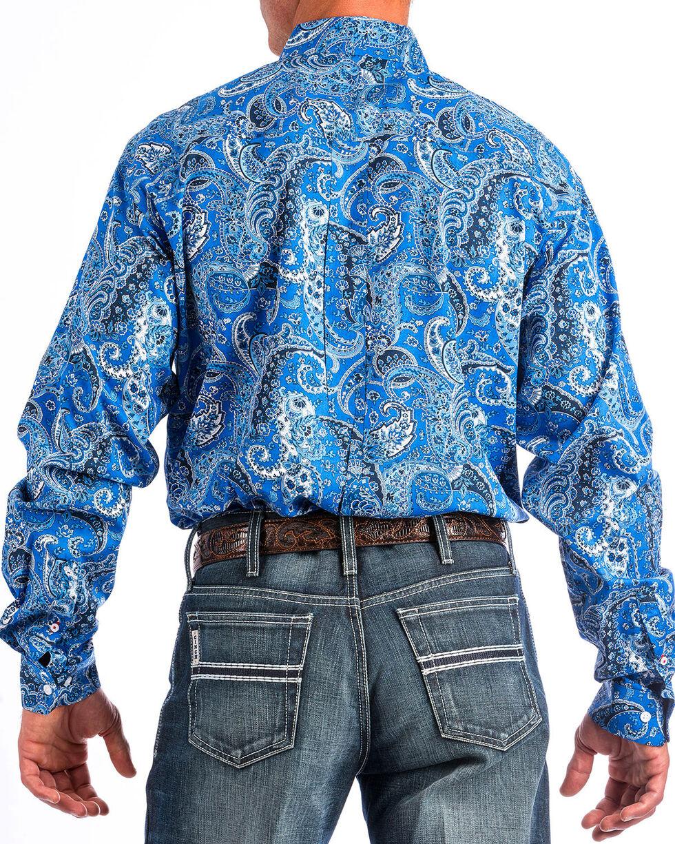 Cinch Men's Blue Paisley Long Sleeve Shirt, Blue, hi-res