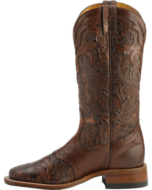 "Boulet Women's 13"" Wide Square Saddle Vamp Tooled Boots, Chestnut, hi-res"