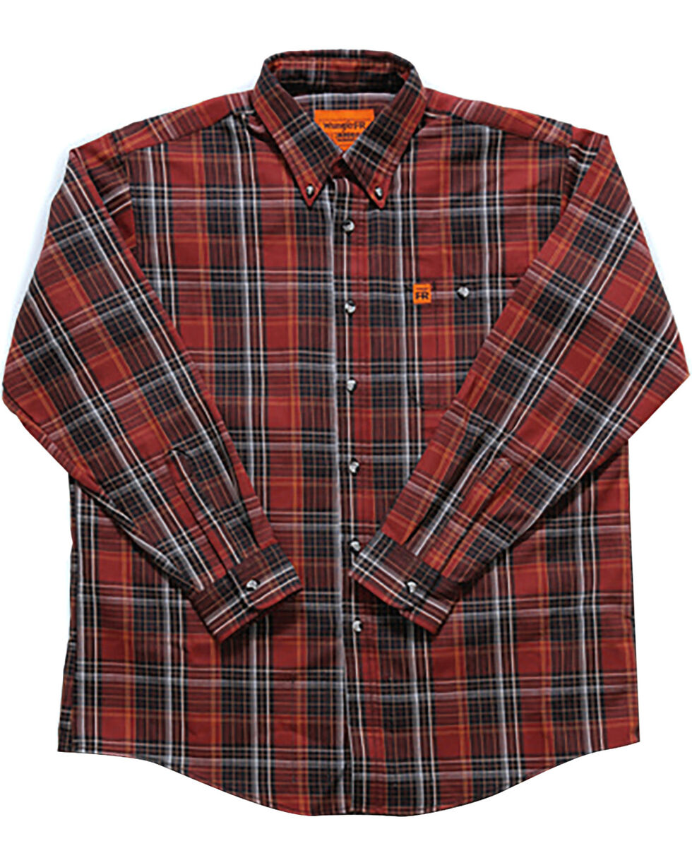 Wrangler Men's Rust Plaid Flame Resistant Shirt - Tall , Chilli, hi-res