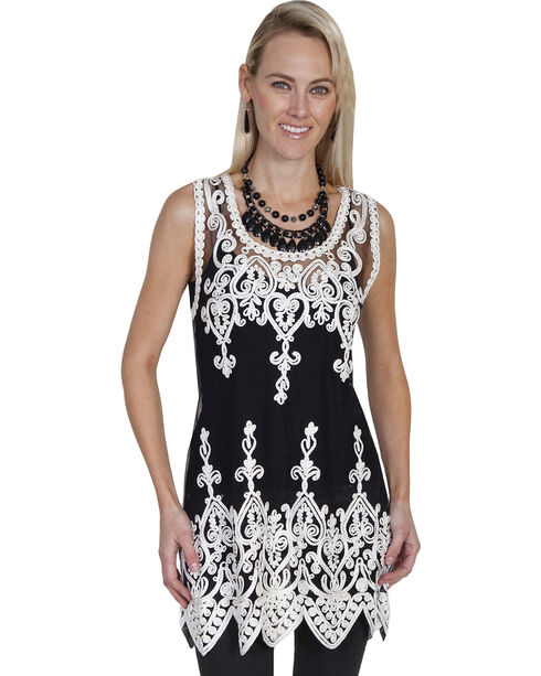 Scully Honey Creek Long Tooled Embroidered Tank, Blk/white, hi-res
