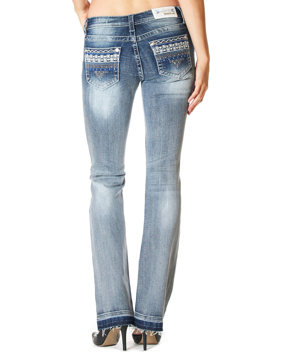 Grace In LA Women's Destructed Under Water Lace Jeans - Boot Cut , Light/pastel Blue, hi-res