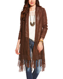 Ariat Women's Fringe Cardigan Sweater, , hi-res