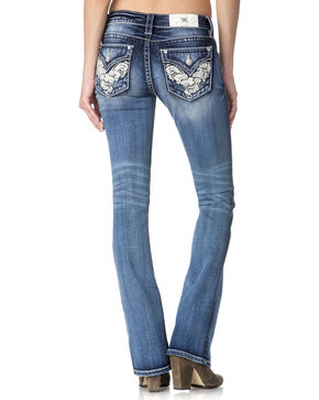 Miss Me Women's Indigo Graceful Beauty Mid-Rise Jeans - Boot Cut , Indigo, hi-res