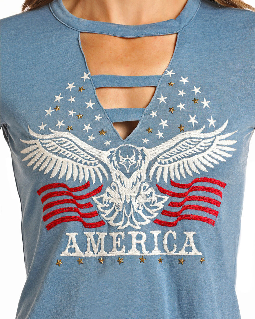 Panhandle Women's Embroidered and Star Studded Patriotic Tee, Blue, hi-res