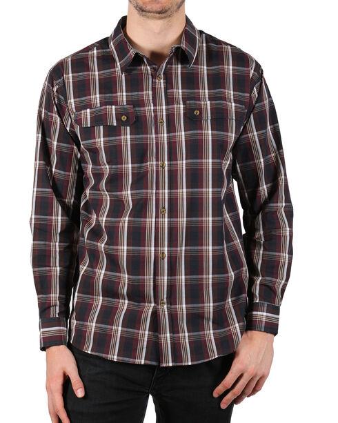 American Worker Men's Grey Plaid Contract Work Shirt , Burgundy, hi-res