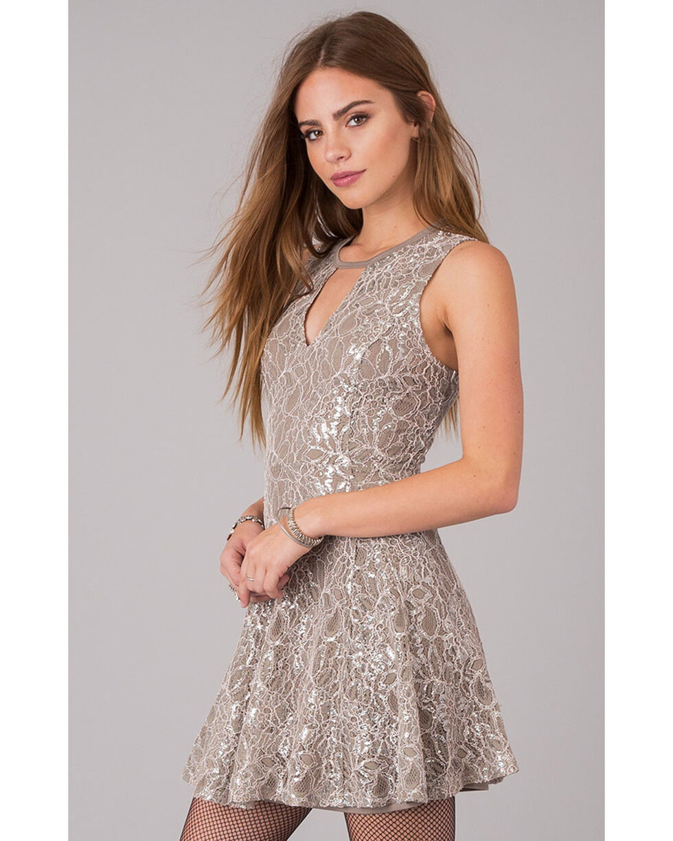 Others Follow Sequin Fit and Flare Cutout Dress, , hi-res