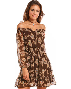 Rock & Roll Cowgirl Women's Floral Off the Shoulder Dress, Brown, hi-res