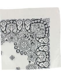 M & F Western White Paisley Print Bandana, , hi-res