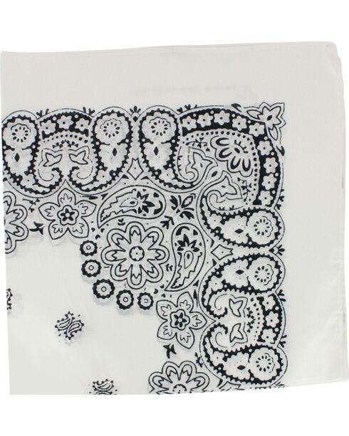 M & F Western White Paisley Print Bandana, No Color, hi-res