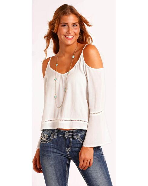 Panhandle Women's Solid Cold Shoulder Top , White, hi-res