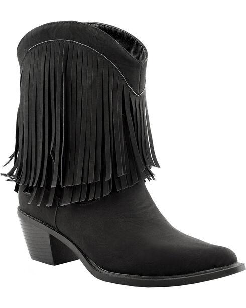 Roper Women's Fringe Western Booties, Black, hi-res