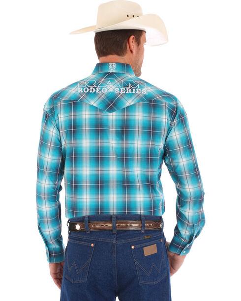 Wrangler Men's Blue Ram Ombre Plaid Western Shirt - Tall , Blue, hi-res