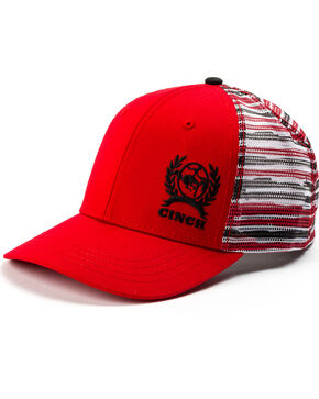 Cinch Men's Red Trucker Striped Mesh Back Cap, Red, hi-res