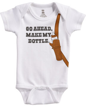 "Hers 'N Spurs Infant's ""Make My Bottle"" Onesie, White, hi-res"