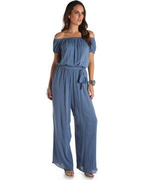 Wrangler Women's Blue Denim Wide Leg Jumpsuit , Blue, hi-res