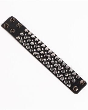 Shyanne Women's Multi-Rhinestone Cuff Bracelet, Black, hi-res