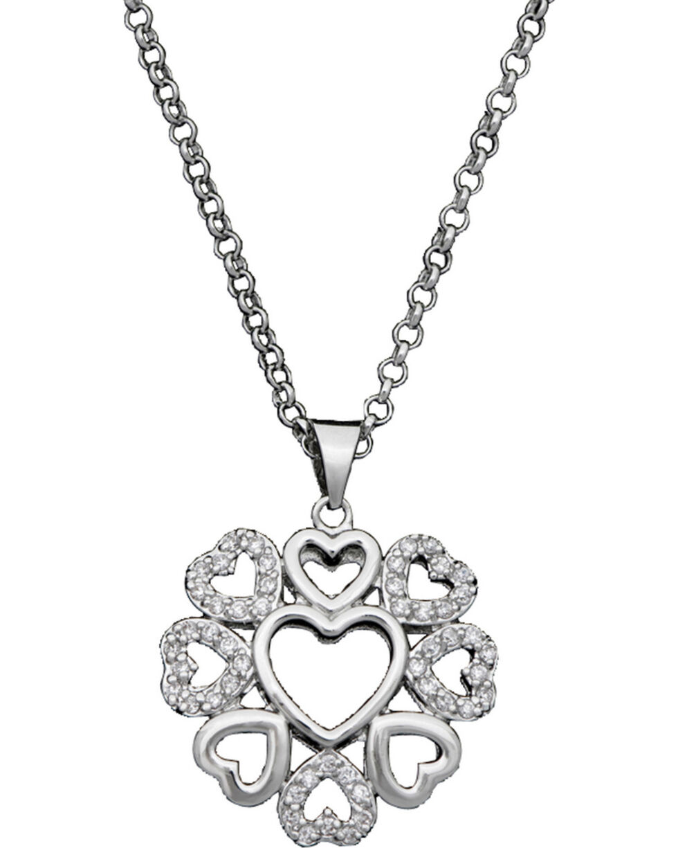 Montana Silversmiths Women's Heart Blooms Necklace, Silver, hi-res