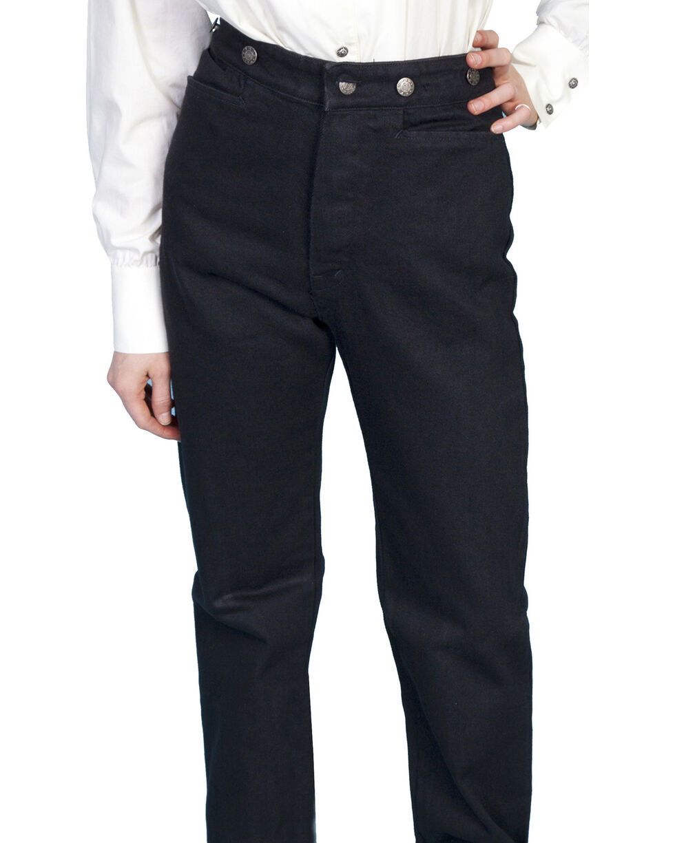 WahMaker by Scully Women's Old West Canvas Pants, Black, hi-res
