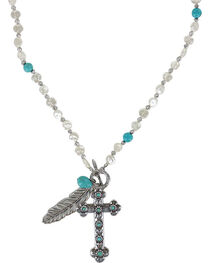 Shaynne Women's Cross & Feather Charm Necklace, , hi-res