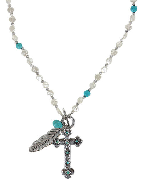 Shaynne Women's Cross & Feather Charm Necklace, Silver, hi-res