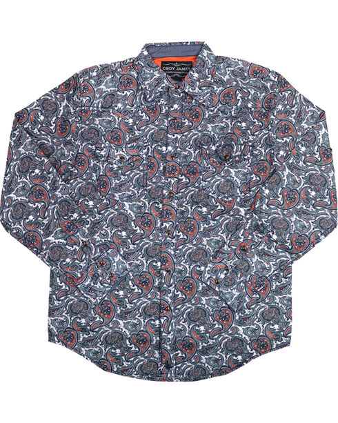 Cody James Men's Blue Paisley Patriot Long Sleeve Western Shirt , Blue, hi-res