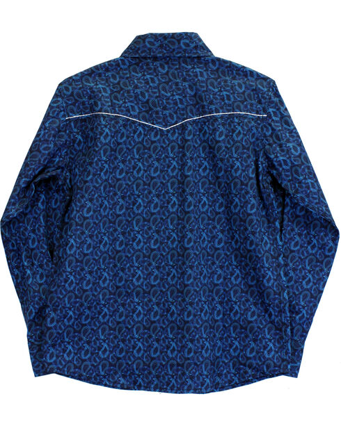 Cowboy Hardware Boys' Paisley Print Long Sleeve Shirt, Blue, hi-res