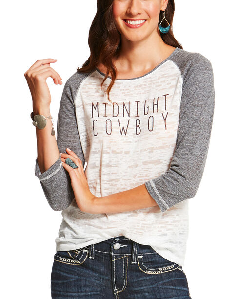 Ariat Women's Midnight Cowboy Long Sleeve T-Shirt, White, hi-res