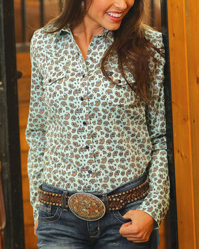 Cinch Women's Paisley Print Long Sleeve Western Shirt, Light Green, hi-res