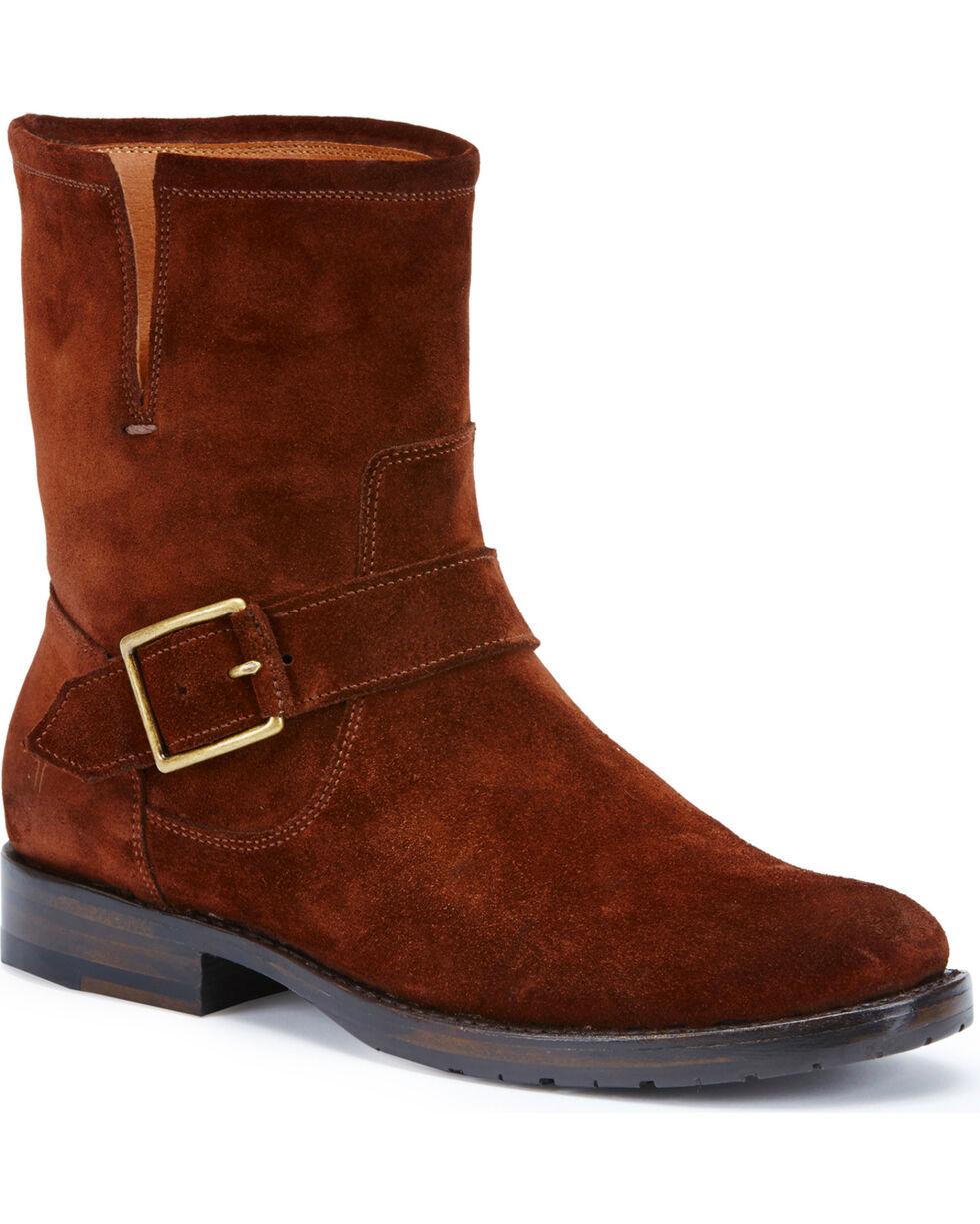 Frye Women's Brown Suede Natalie Short Engineer Boots, Brown, hi-res