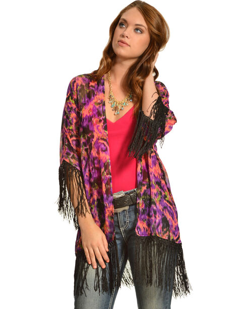 Wrangler Rock 47 Women's Multicolor Ikat Fringe Kimono Cardigan, Multi, hi-res