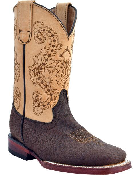 Ferrini Girls' Elephant Print Western Boots - Square Toe, Brown, hi-res