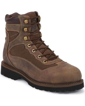 "Justin Men's Light Duty 6"" Composition Toe Lace-Up Work Boots, Brown, hi-res"