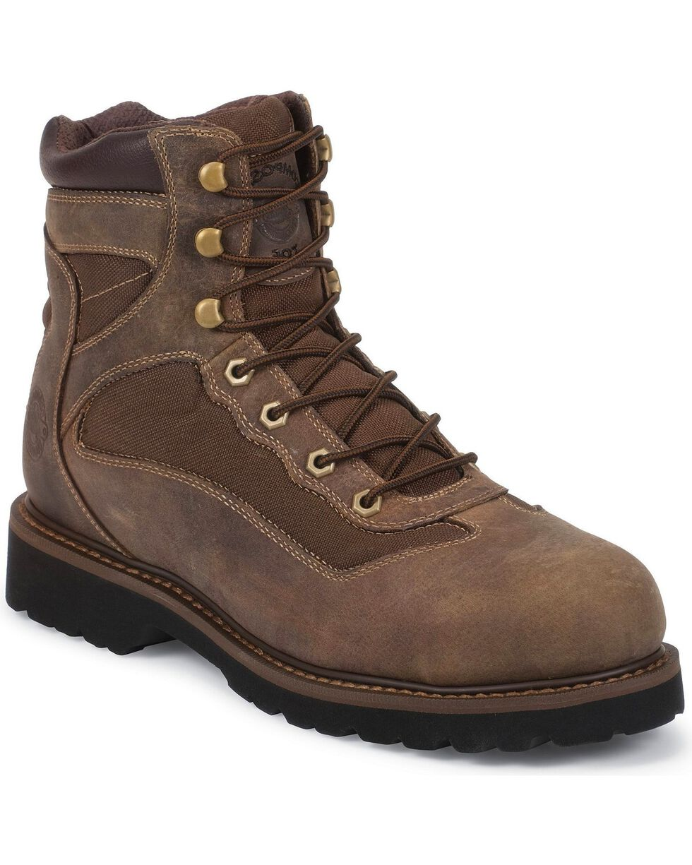 """Justin Men's Light Duty 6"""" Composition Toe Lace-Up Work Boots, Brown, hi-res"""