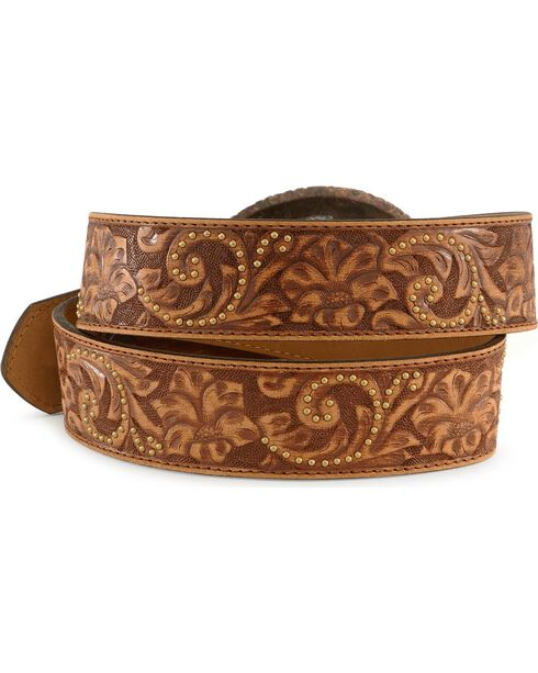 Justin Women's Leather Floral Belt and Cross Buckle, Brown, hi-res