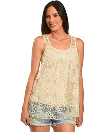 Young Essence Women's Sheer Lace Tank Top , , hi-res